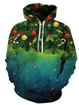 Christmas Tree Galaxy Star Long Sleeve Green Pattern 3D Painted Hoodie