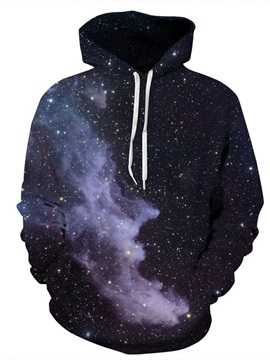 Black Star Galaxy Sky Cool Long Sleeve Polyester Pattern 3D Painted Hoodie