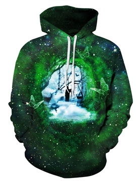 Green Butterfly Person in the Dream Long Sleeve Pattern 3D Painted Hoodie