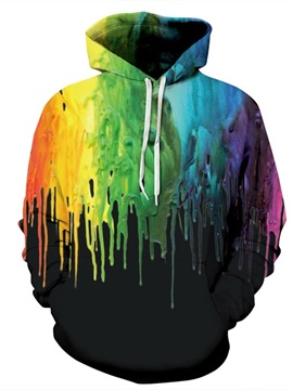 Paint Color Falling Couple Long Sleeve Spandex 3D Pattern Soft Hoodie