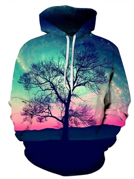 Tree Aurora Style Pink Scenery Couple Long Sleeve Spandex 3D Pattern Hoodie