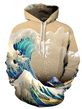 Popular Long Sleeve Mountain Sea Yellow Waves Pattern 3D Painted Hoodie