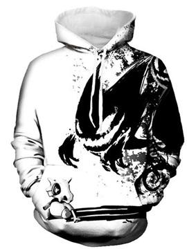 Long Sleeve Black White Monster Elf 3D PatternHoodie