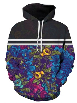 3D Pattern Colorful Floral Long Stripe Couple Sleeve Hoodie