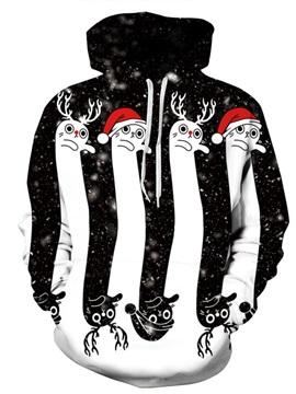 Long Sleeve Winter Christmas Deer Pattern 3D Painted Hoodie