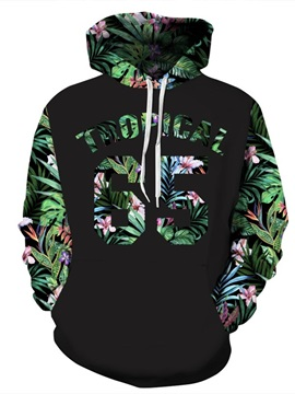3D Pattern Tropiacl Leaves Number Black Cool SummerLong Sleeve Hoodie