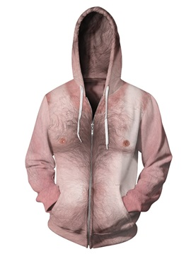 3D Print Big Simulation Skin Chest Hair Pockets Zipper Hoodies