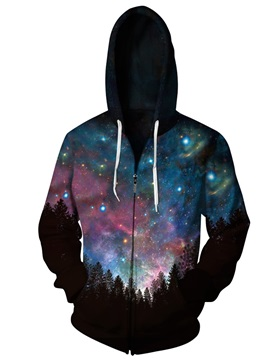 3D Night Forest Print Cool Hoodies Galaxy Pockets Zipper Jacket