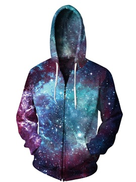 3D Print Blue Universal Cool Hoodies Pockets Zipper Galaxy Jacket
