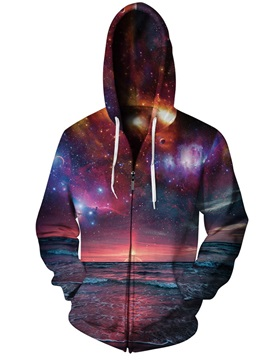 3D Print Big Sunset Beach Sea Galaxy Pockets Zipper Hoodies