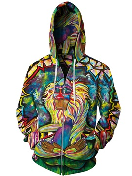 Unique Long Sleeve Big Monkey Apes Pattern 3D Painted Hoodies