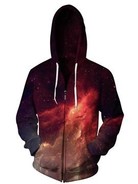 3D Print Big Pockets Red Galaxy Sky Colorful Zipper Hoodies