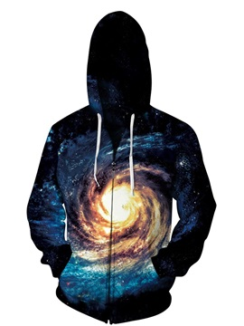 3D Galaxy Black Sky Print Big Pockets Zipper Hoodies