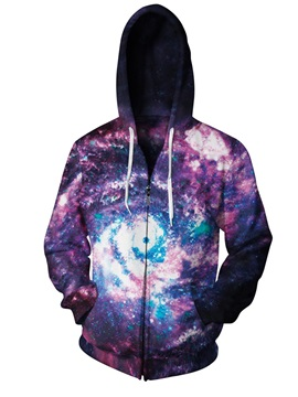 3D Print Big Galaxy Purple Pockets Zipper Hoodies