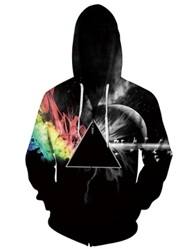 3D Print Big Pockets Triangle Color Block Zipper Hoodies