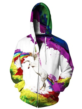 3D Unicorn Colorful Print Big Pockets Zipper Hoodies
