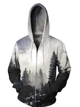 3D Fog Forest Cloudy Print Big Pockets Zipper Hoodies