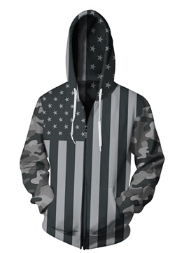 3D Black American Flag Print Cool Hoodies Pockets Zipper Jacket