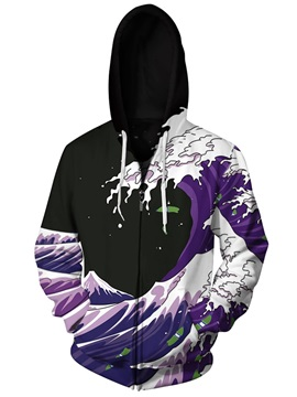 Sea Waves Purple 3D Print Big Pockets Zipper Hoodies