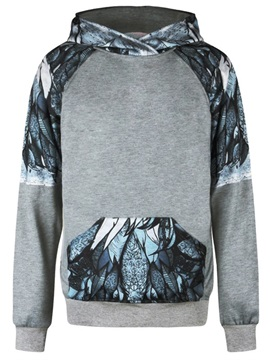 Grey Long Sleeve Leaves Pattern 3D Painted Hoodie