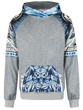 Blue Leaves Long Sleeve 3D Pattern Men's Hoodie