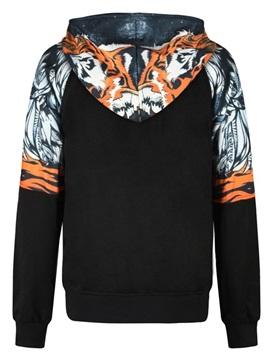 Stripe Tiger Long Sleeve 3D Pattern Men's Hoodie
