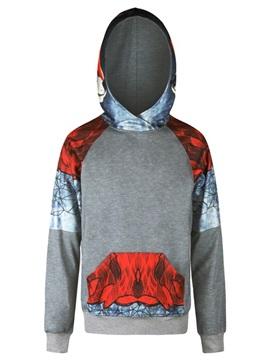 Red Color Block Long Sleeve 3D Pattern Men's Hoodie