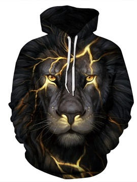 Long Sleeve Lion Light 3D Pattern Hoodie