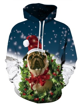 Long Sleeve Christmas Snowy Puppy Dog 3D Pattern Hoodie