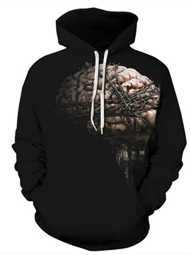 Soft Long Sleeve Branches Brain Black Pattern 3D Painted Hoodie