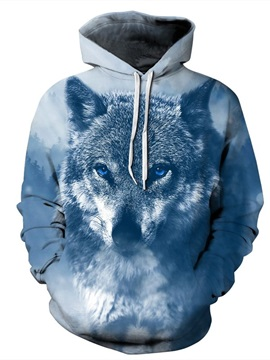 Long Sleeve Winter Wolf Snow Freezing Pattern 3D Painted Hoodie