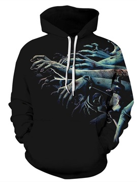 Long Sleeve Many Arms and Hands Black Halloween 3D Pattern Hoodie