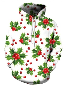 Long Sleeve Red and Green Color Block Christmas 3D Pattern Hoodie