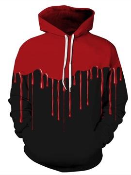 Long Sleeve Black Background Red Falling Halloween Pattern Hoodie