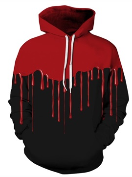 Long Sleeve Black Background Red Falling Halloween Pattern Hoodie