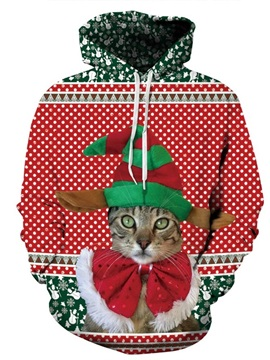 Unique Long Sleeve Christmas Cat Pattern 3D Painted Hoodie