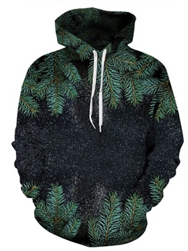 Long Sleeve Night Green Leaves 3D Pattern Hoodie