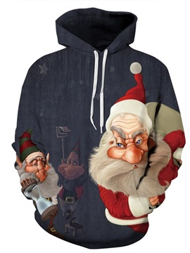 Long Sleeve Strange Santa Claus 3D Christmas Pattern Hoodie