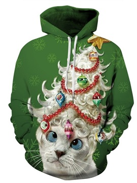 Long Sleeve Cat with Wig Green 3D Pattern Hoodie