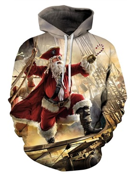 Popular Long Sleeve Christmas Santa Claus Pirate Pattern 3D Painted Hoodie