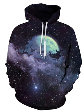 Long Sleeve Night Moon Sky 3D Christmas Pattern Hoodie