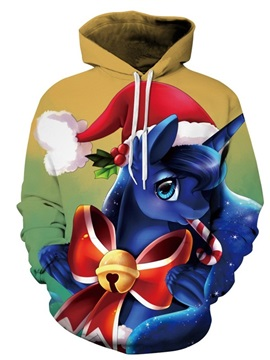 Long Sleeve Christmas Unicorn Hat Pattern 3D Painted Hoodie