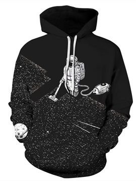 Robot Cleaning the Floor Long Sleeve 3D Pattern Hoodie