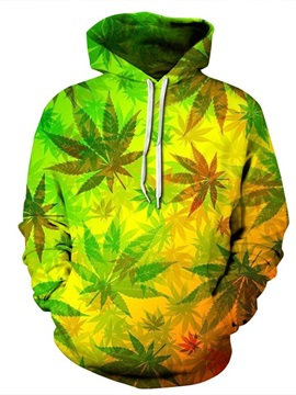 Light Color Leaves Long Sleeve 3D Pattern Hoodie