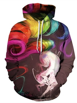 Fox Colorful Tails Long Sleeve 3D Pattern Hoodie