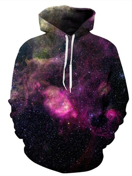 Red Galaxy Sky Long Sleeve 3D Pattern Hoodie