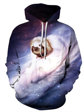 Long Sleeve Galaxy Sloth Fantasy Pattern 3D Painted Hoodie