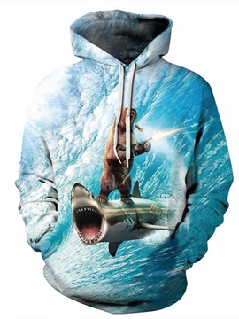 Long Sleeve Funny Bear Shark with Gun 3D Painted Hoodie