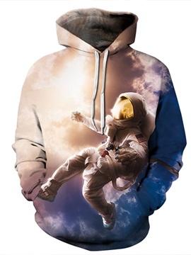 Astronaut Fly in the Sky Long Sleeve 3D Pattern Hoodie