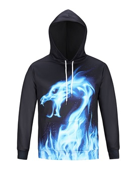 Blue Fire Dragon Long Sleeve 3D Pattern Hoodie